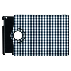 Silent Night Blue Large Gingham Check Apple iPad 3/4 Flip 360 Case