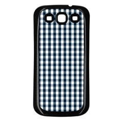 Silent Night Blue Large Gingham Check Samsung Galaxy S3 Back Case (Black)