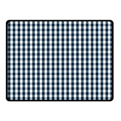Silent Night Blue Large Gingham Check Double Sided Fleece Blanket (Small)
