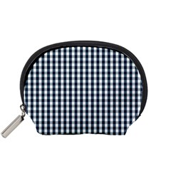 Silent Night Blue Large Gingham Check Accessory Pouches (Small)