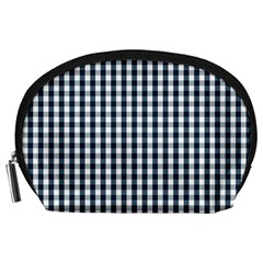 Silent Night Blue Large Gingham Check Accessory Pouches (Large)