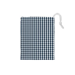 Silent Night Blue Large Gingham Check Drawstring Pouches (Small)