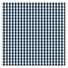 Silent Night Blue Large Gingham Check Large Satin Scarf (Square)
