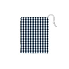 Silent Night Blue Large Gingham Check Drawstring Pouches (XS)
