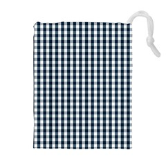 Silent Night Blue Large Gingham Check Drawstring Pouches (extra Large)