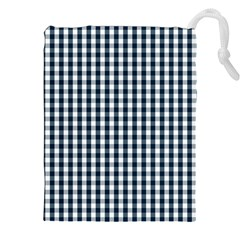 Silent Night Blue Large Gingham Check Drawstring Pouches (XXL)