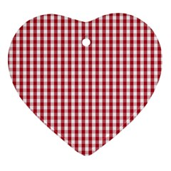 Usa Flag Red Blood Large Gingham Check Ornament (Heart)