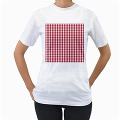Usa Flag Red Blood Large Gingham Check Women s T-Shirt (White) (Two Sided)