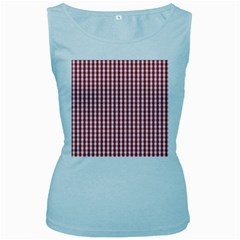 Usa Flag Red Blood Large Gingham Check Women s Baby Blue Tank Top