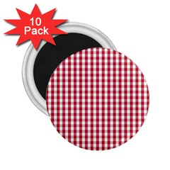 Usa Flag Red Blood Large Gingham Check 2 25  Magnets (10 Pack)
