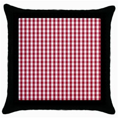 Usa Flag Red Blood Large Gingham Check Throw Pillow Case (black)