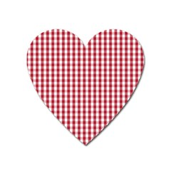 Usa Flag Red Blood Large Gingham Check Heart Magnet