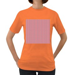 Usa Flag Red Blood Large Gingham Check Women s Dark T-Shirt