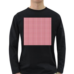 Usa Flag Red Blood Large Gingham Check Long Sleeve Dark T-Shirts