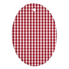 Usa Flag Red Blood Large Gingham Check Oval Ornament (Two Sides)