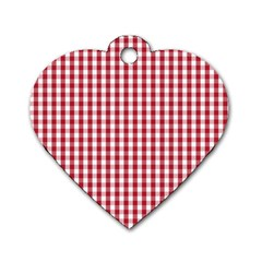 Usa Flag Red Blood Large Gingham Check Dog Tag Heart (One Side)