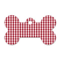 Usa Flag Red Blood Large Gingham Check Dog Tag Bone (Two Sides)
