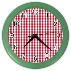 Usa Flag Red Blood Large Gingham Check Color Wall Clocks