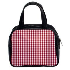 Usa Flag Red Blood Large Gingham Check Classic Handbags (2 Sides)