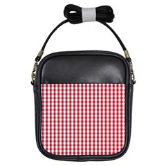 Usa Flag Red Blood Large Gingham Check Girls Sling Bags