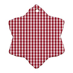 Usa Flag Red Blood Large Gingham Check Ornament (Snowflake)