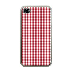 Usa Flag Red Blood Large Gingham Check Apple iPhone 4 Case (Clear)