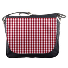 Usa Flag Red Blood Large Gingham Check Messenger Bags