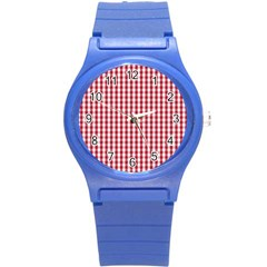 Usa Flag Red Blood Large Gingham Check Round Plastic Sport Watch (S)