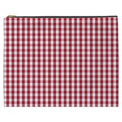 Usa Flag Red Blood Large Gingham Check Cosmetic Bag (XXXL)
