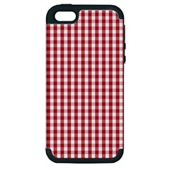 Usa Flag Red Blood Large Gingham Check Apple iPhone 5 Hardshell Case (PC+Silicone)