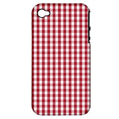 Usa Flag Red Blood Large Gingham Check Apple iPhone 4/4S Hardshell Case (PC+Silicone)