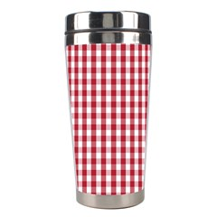 Usa Flag Red Blood Large Gingham Check Stainless Steel Travel Tumblers