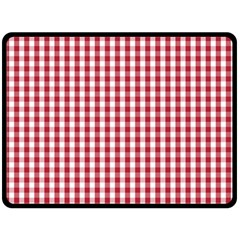 Usa Flag Red Blood Large Gingham Check Double Sided Fleece Blanket (Large)