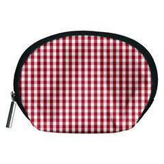 Usa Flag Red Blood Large Gingham Check Accessory Pouches (Medium)