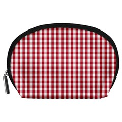 Usa Flag Red Blood Large Gingham Check Accessory Pouches (Large)