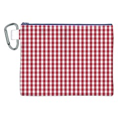 Usa Flag Red Blood Large Gingham Check Canvas Cosmetic Bag (XXL)