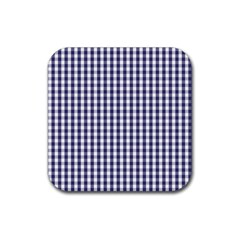 Usa Flag Blue Large Gingham Check Plaid  Rubber Coaster (square)