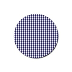 USA Flag Blue Large Gingham Check Plaid  Rubber Coaster (Round)