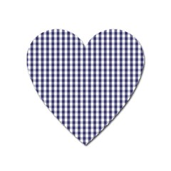 Usa Flag Blue Large Gingham Check Plaid  Heart Magnet