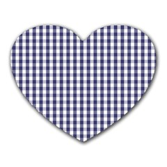 USA Flag Blue Large Gingham Check Plaid  Heart Mousepads