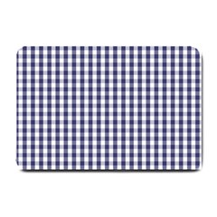 USA Flag Blue Large Gingham Check Plaid  Small Doormat