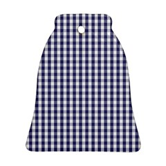 USA Flag Blue Large Gingham Check Plaid  Bell Ornament (Two Sides)