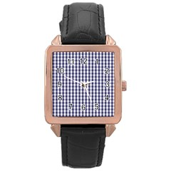 USA Flag Blue Large Gingham Check Plaid  Rose Gold Leather Watch