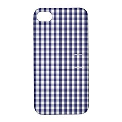USA Flag Blue Large Gingham Check Plaid  Apple iPhone 4/4S Hardshell Case with Stand