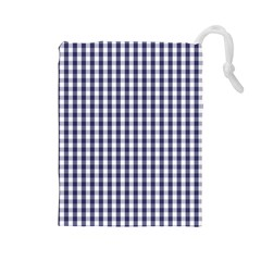 USA Flag Blue Large Gingham Check Plaid  Drawstring Pouches (Large)