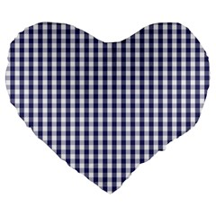 USA Flag Blue Large Gingham Check Plaid  Large 19  Premium Flano Heart Shape Cushions