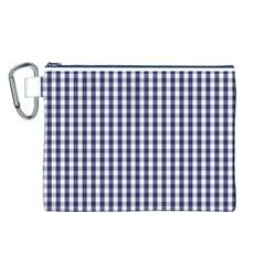USA Flag Blue Large Gingham Check Plaid  Canvas Cosmetic Bag (L)