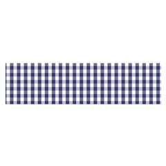 Usa Flag Blue Large Gingham Check Plaid  Satin Scarf (oblong)