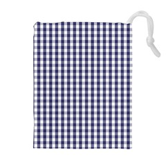 USA Flag Blue Large Gingham Check Plaid  Drawstring Pouches (Extra Large)