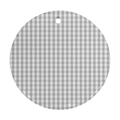 Christmas Silver Gingham Check Plaid Ornament (Round)
